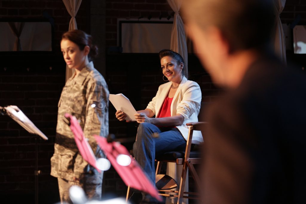 Air Force Veeran Melissa Ritz narrates SERVED with Deborah Smith in the foreground at the USVAA New Works Presentation 2017 at The Actors Gang