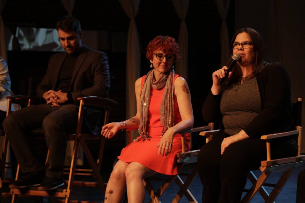 Sydney Hoffner responds to a question from the audience about her TV pilot, BOOTLEG
