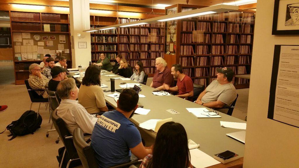 USVAA Veterans Writing Group WGF Library w Sam Wolfson, Timothy Wurtz and Mickey Fisher Sept. 2018